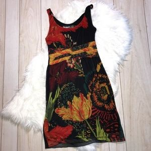 Desigual Sleeveless Empire Waist Floral Dress